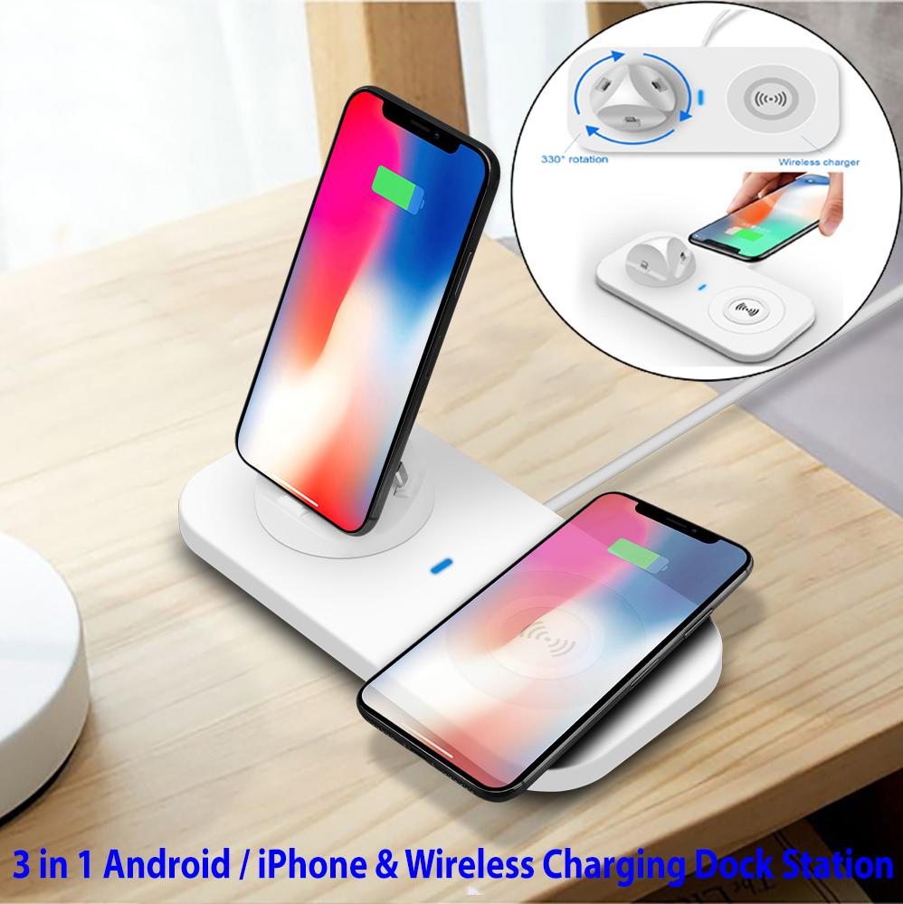 3 in 1 Android / iPhone & Wireless Charging Dock Station