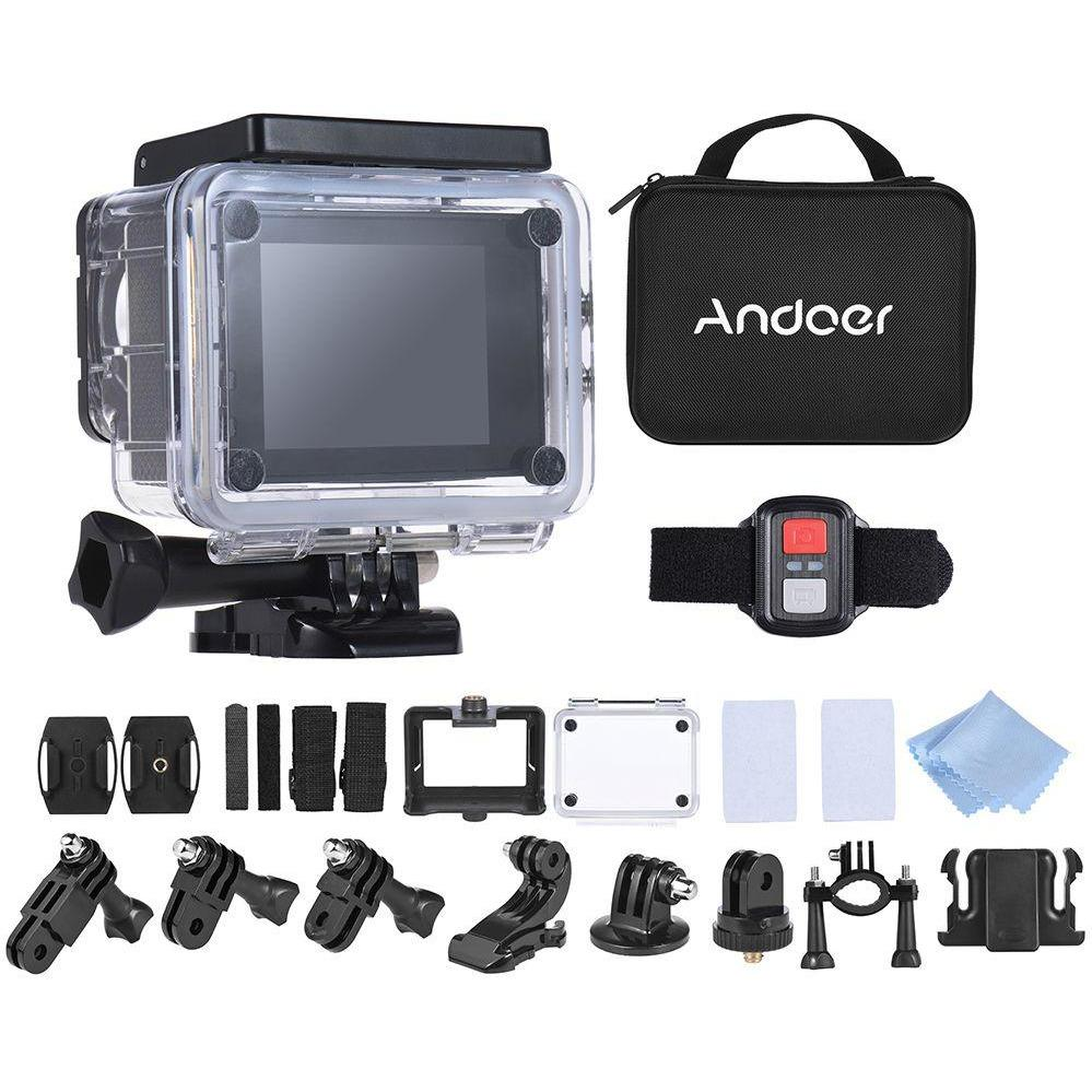 Andoer Q3H-R 4K 30fps 16MP WiFi Sports Action Camera 1080P Full HD 170° Wide-Angle Lens Waterproof 30m 2Inch LCD w/ Remote Control and Portable Carrying Case