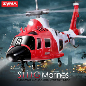 100% Original SYMA S111G 3.5CH RC Marines Helicopter W/ Gyro Shatterproof  LED Lights Drone Easy Control Mini Aircraft Toy