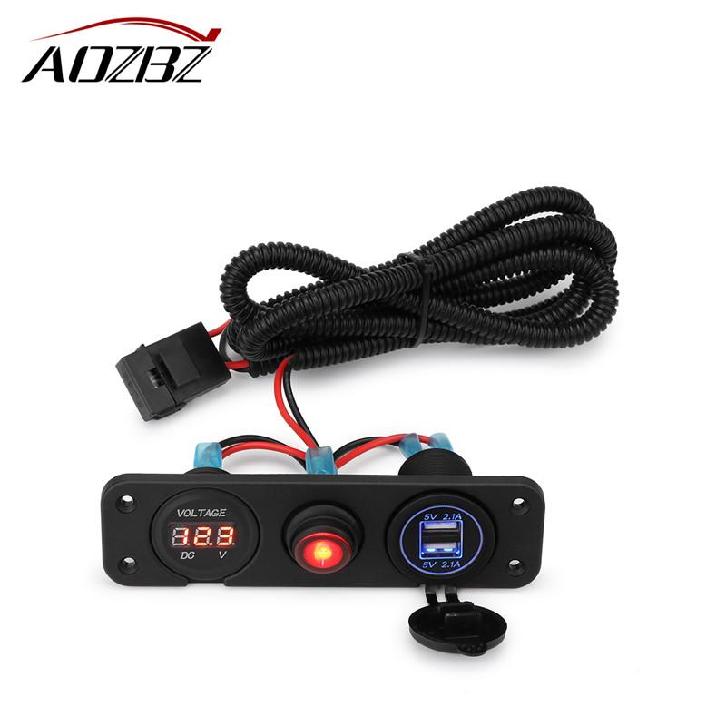 Car Cigarette Lighter Sockets Splitter Power Adapter Dual USB Charger with Voltmeter for Motorcycle Boat Truck12-24V 5V/4.2A