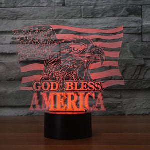 3D Illusion Night Light  LED Light 7 Color with Touch Switch USB Cable Nice Gift Home Office Decorations,National Flag