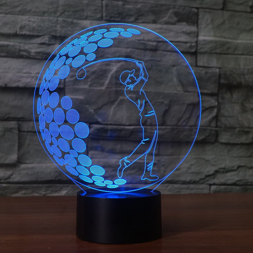 3D Illusion Night Light  LED Light 7 Color with Touch Switch USB Cable Nice Gift Home Office Decorations,Golf Boy