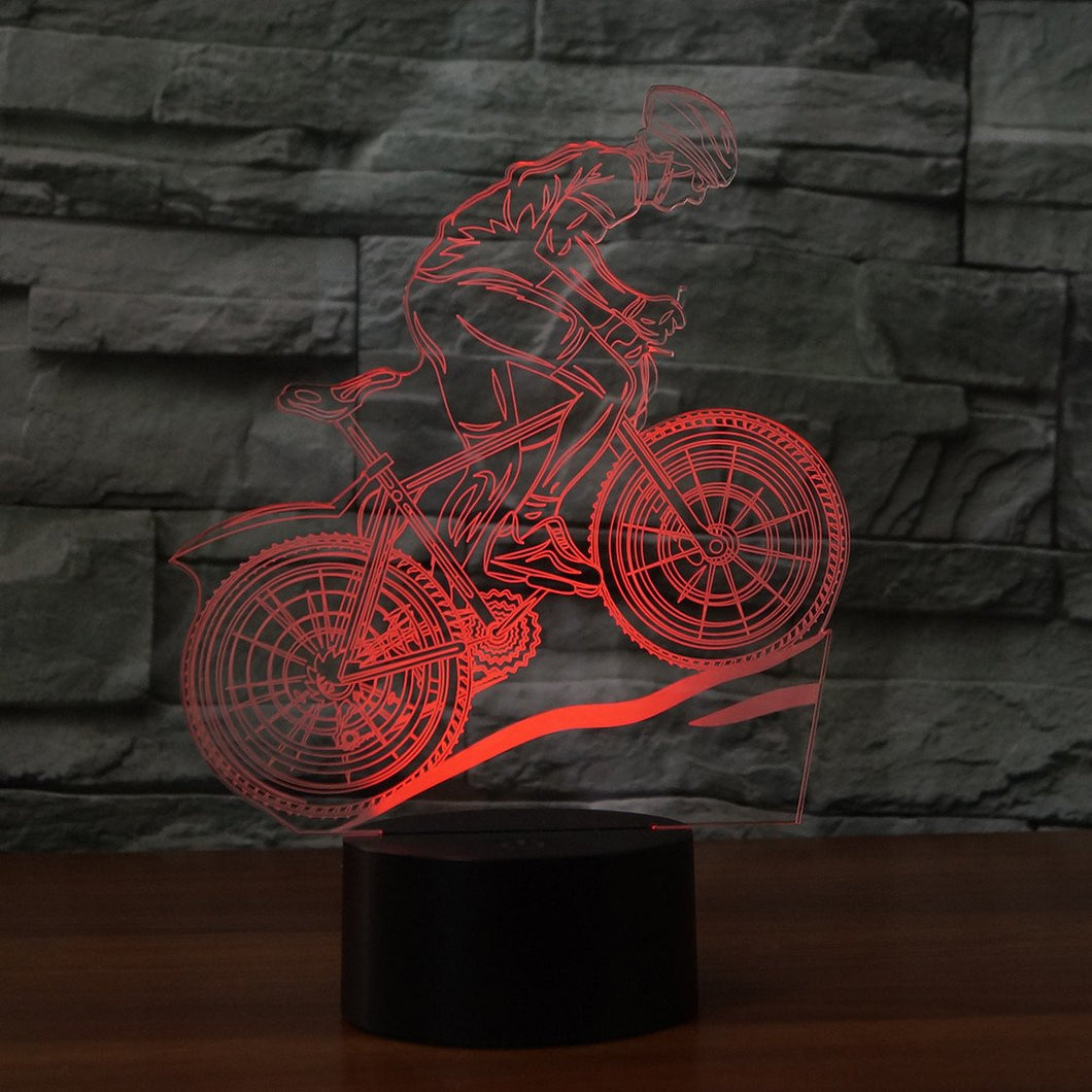3D Illusion Night Light  LED Light 7 Color with Touch Switch USB Cable Nice Gift Home Office Decorations,Mountain  Bike