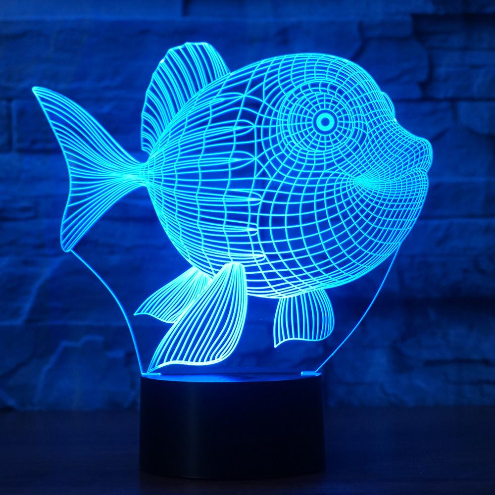 3D Illusion Night Light  LED Light 7 Color with Touch Switch USB Cable Nice Gift Home Office Decorations,Fish-4