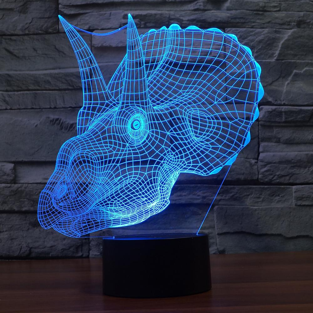 3D Illusion Night Light  LED Light 7 Color with Touch Switch USB Cable Nice Gift Home Office Decorations,Dinosaur-2