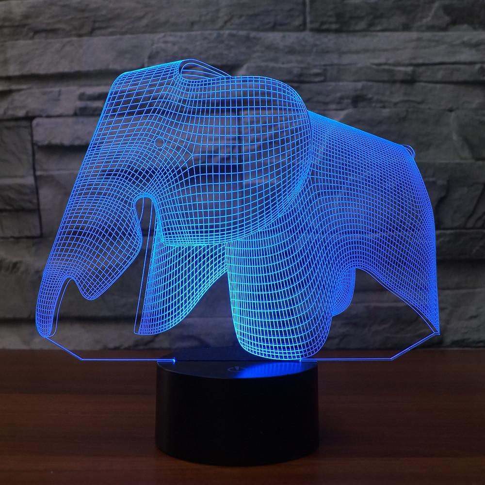 3D Illusion Night Light  LED Light 7 Color with Touch Switch USB Cable Nice Gift Home Office Decorations,Elephant-4