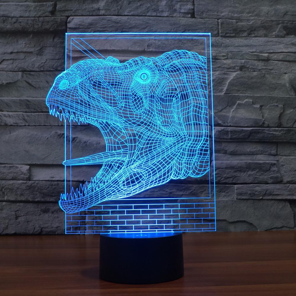 3D Illusion Night Light  LED Light 7 Color with Touch Switch USB Cable Nice Gift Home Office Decorations,Dinosaur-4