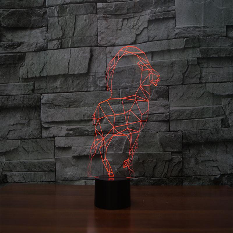 3D Illusion Night Light  LED Light 6 Color with Touch Switch USB Cable Nice Gift Home Office Decorations,Tibetan Antelope