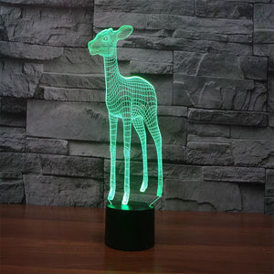 3D Illusion Night Light  LED Light 7 Color with Touch Switch USB Cable Nice Gift Home Office Decorations,Sika Deer