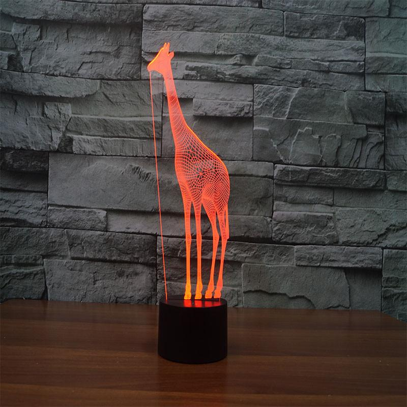 3D Illusion Night Light  LED Light 6 Color with Touch Switch USB Cable Nice Gift Home Office Decorations,Giraffe-2