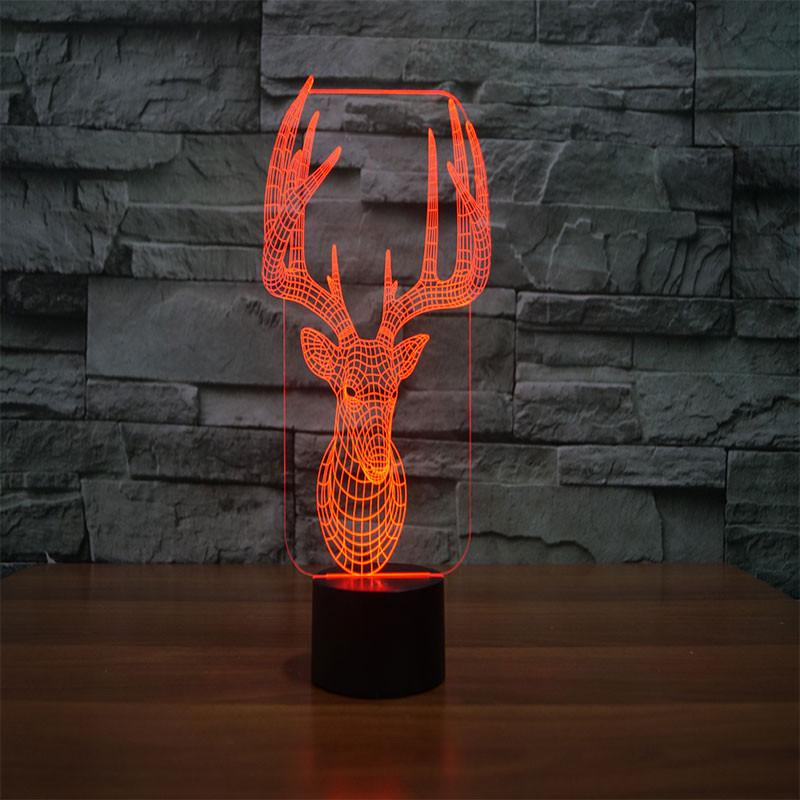 3D Illusion Night Light  LED Light 8 Color with Touch Switch USB Cable Nice Gift Home Office Decorations,Deer