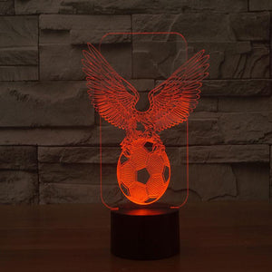 3D Illusion Night Light  LED Light 6 Color with Touch Switch USB Cable Nice Gift Home Office Decorations,Football-2