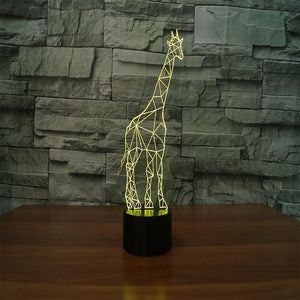 3D Illusion Night Light  LED Light 7 Color with Touch Switch USB Cable Nice Gift Home Office Decorations,Giraffe-3