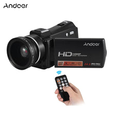 "Load image into Gallery viewer, Andoer HDV-V7 PLUS 1080P Full HD 24MP Portable Digital Video Camera Camcorder Remote Control Infrared Night Vision Recorder + 0.45X Wide Angle Lens 16X Zoom 3.0"" Rotary LCD with Hot Shoe Mount"