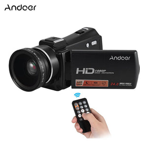 "Andoer HDV-V7 PLUS 1080P Full HD 24MP Portable Digital Video Camera Camcorder Remote Control Infrared Night Vision Recorder + 0.45X Wide Angle Lens 16X Zoom 3.0"" Rotary LCD with Hot Shoe Mount"