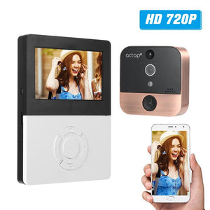 "actop 4.5"" LCD 720P WIFI Digital Peephole Viewer 110° PIR Door Eye Video Intercom Doorbell Camera IR Night Vision Motion Detection Photo Taking/Video Recording Support Phone APP Control for Home Security"