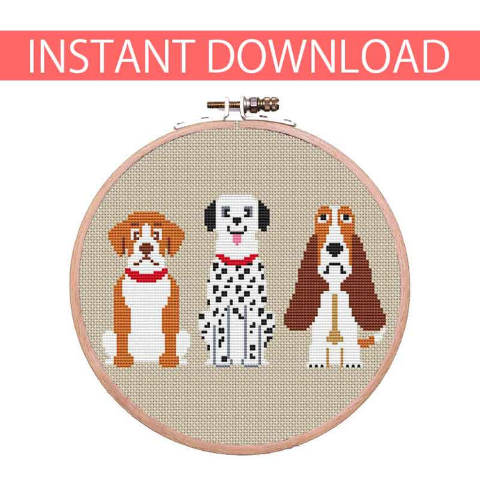 Set of 3 cross stitch dog with Dalmatian and Basset Hound
