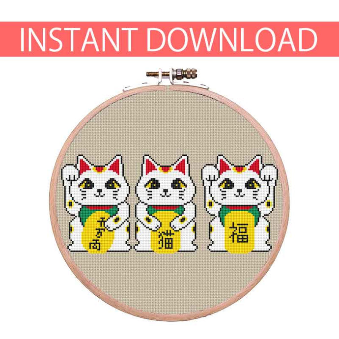 Small Manekineko cross stitch