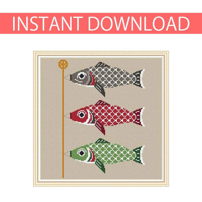 Koinobori cross stitch, carp streamers