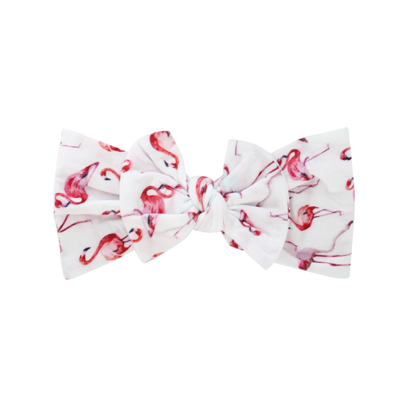 Flamingo Wide Nylon Print Bow Headband