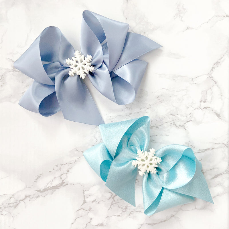 Big Icy Blue Glitter Snowflake Bow