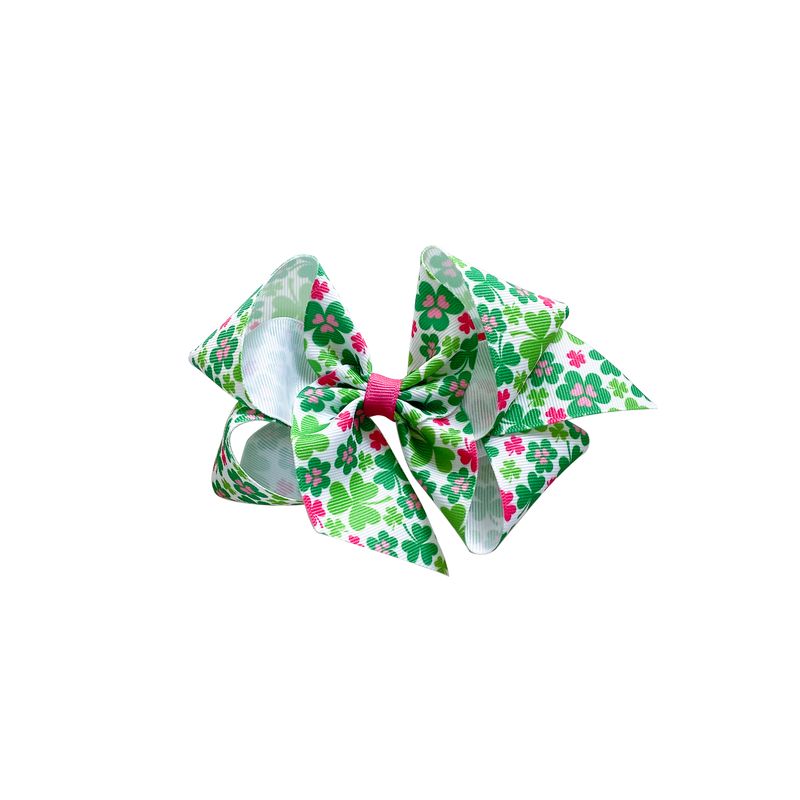 Big Pink Shamrock Print Bow