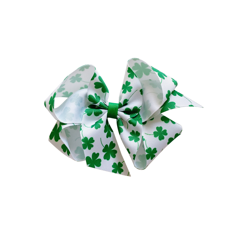 Big Green Shamrock Print Bow