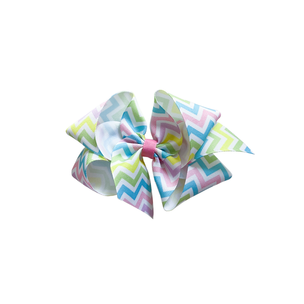 Big Pastel Chevron Print Bow