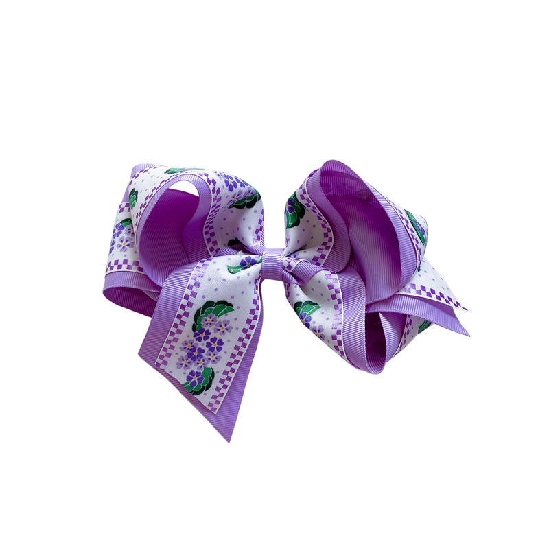 Giant Lavender Floral Double Bow