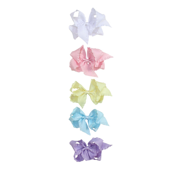 Big Ruffle Satin Bow - Pastel Colors