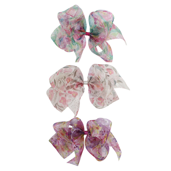 Big Floral Organdy Bow