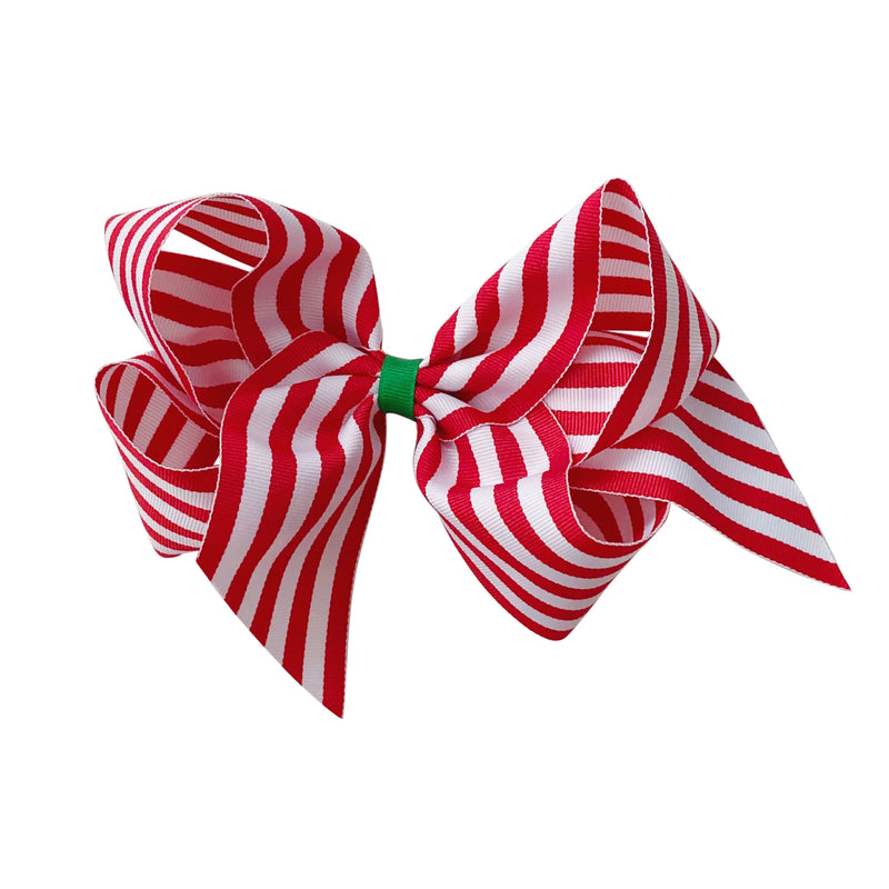 Giant Candy Cane Stripe Grosgrain Bow