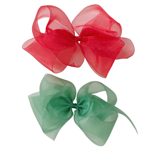 Giant Holiday Organdy Bow - Red & Green