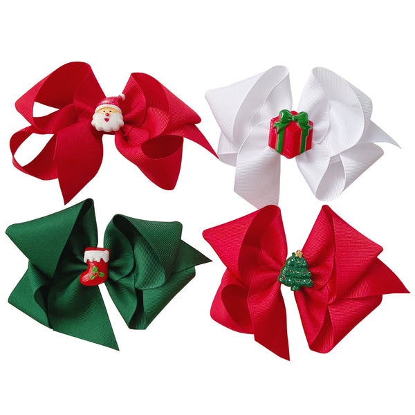 Big Holiday Charm Grosgrain Bow