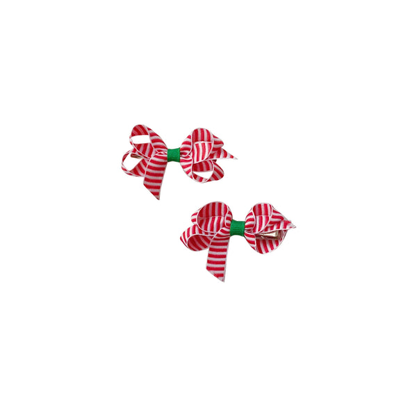 Infant Candy Cane Stripe Bow (Set of 2)