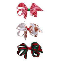 Small Grosgrain Holiday Print Bow