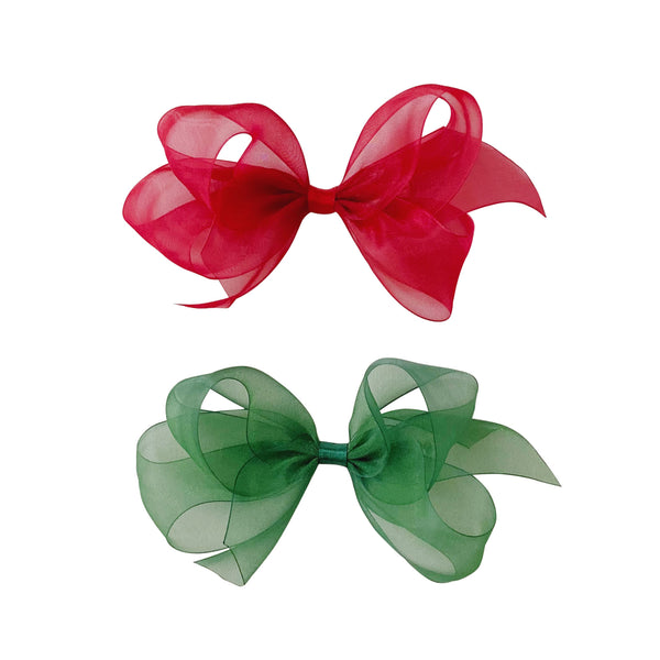 Small Holiday Organdy Bow - Red & Green