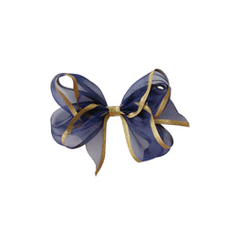 Small Navy & Gold Organdy Bow
