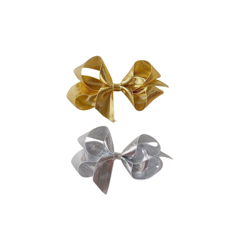 Toddler Gold or Silver Metallic Bow