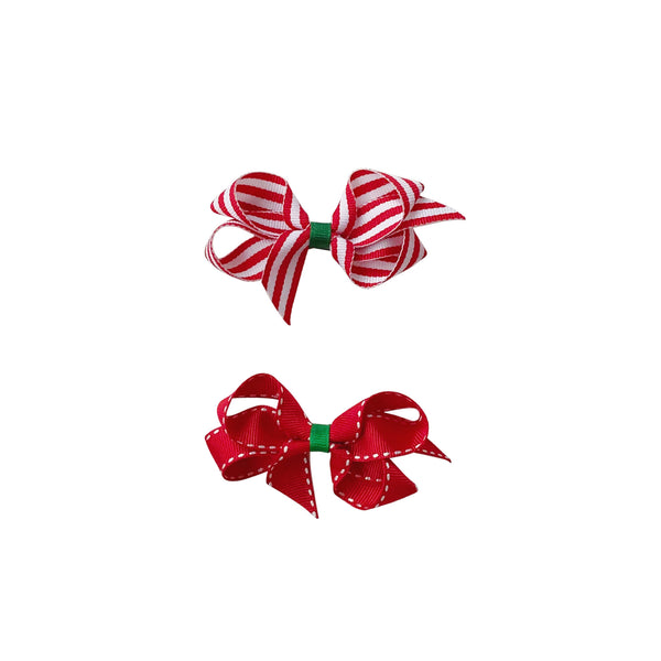 Toddler Grosgrain Holiday Print Bow