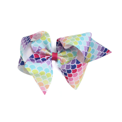 Giant Rainbow Mermaid Print Bow