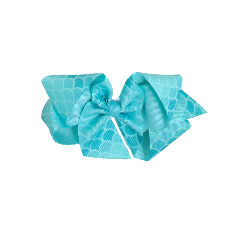 Big Turquoise Mermaid Print Bow