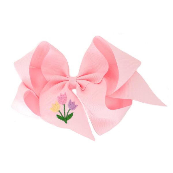 Giant Light Pink Tulip Embroidered Bow