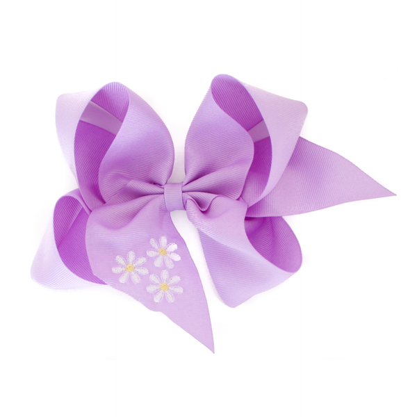 Giant Purple Daisy Embroidered Bow