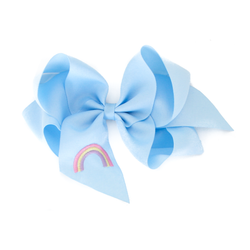 Giant Blue Rainbow Embroidered Bow