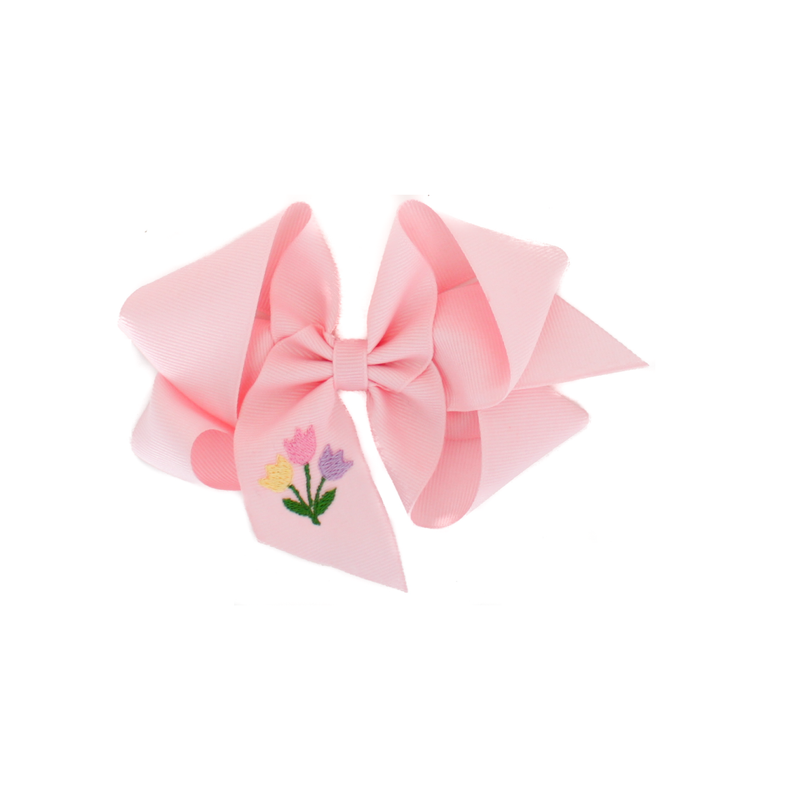 Big Light Pink Tulip Embroidered Bow