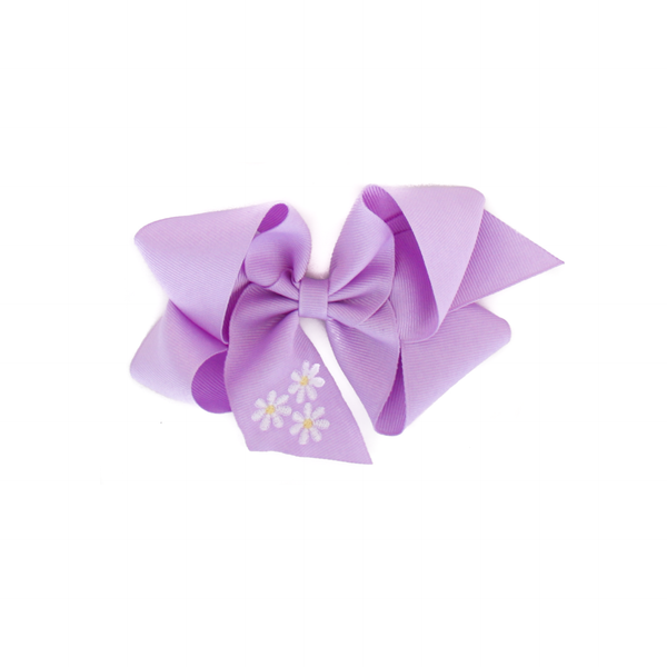 Big Purple Daisy Embroidered Bow