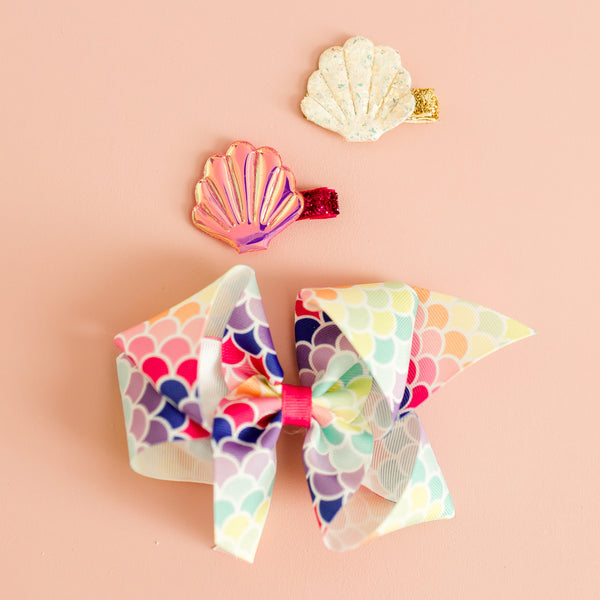 Big Rainbow Mermaid Print Bow