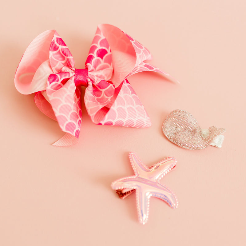 Big Pink Mermaid Bow