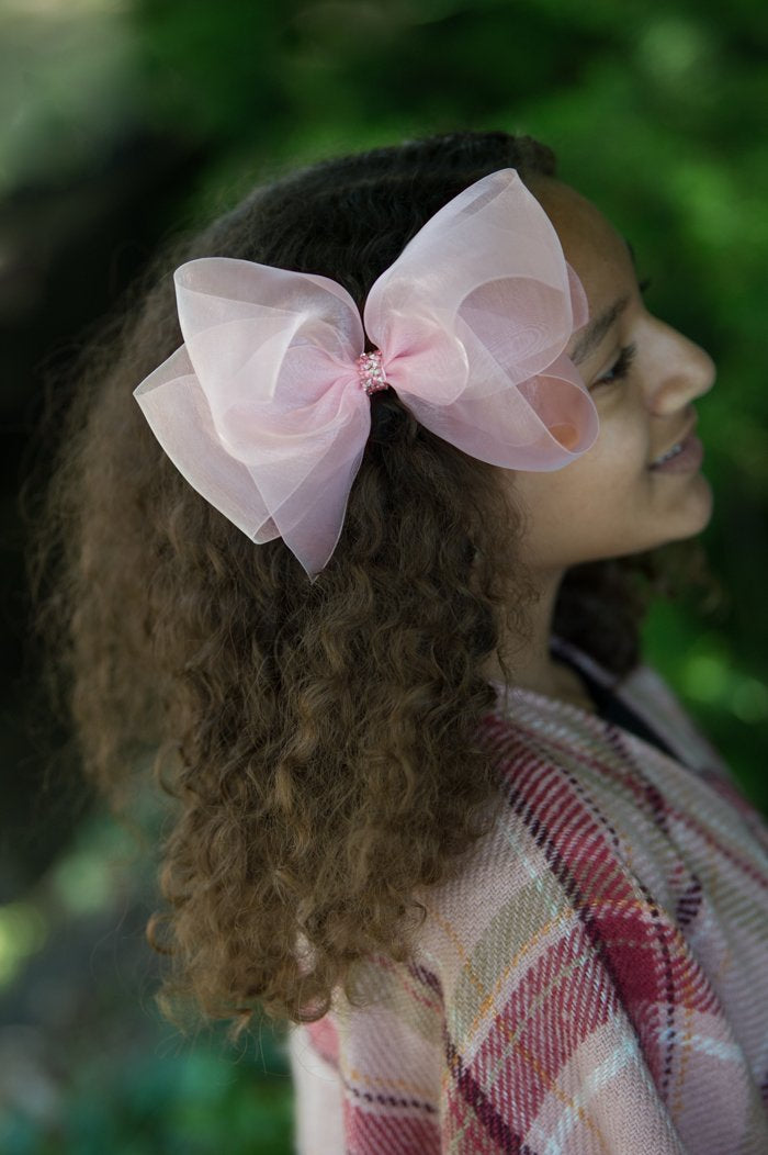 Big Princess Organdy Bow - Azalea